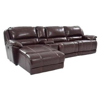 Theodore Brown Power Motion Leather Sofa w/Left Chaise