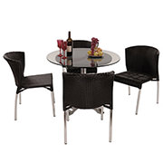 Gerald Black 5-Piece Patio Set w/10mm Glass Top  alternate image, 2 of 12 images.