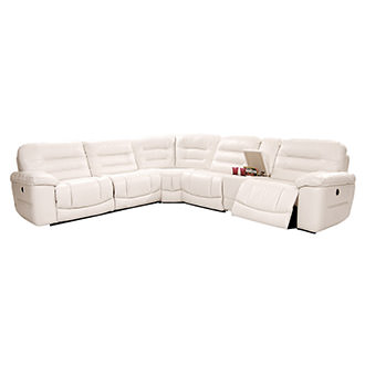 Sheree White Power Motion Leather Sofa w/Right & Left Recliners