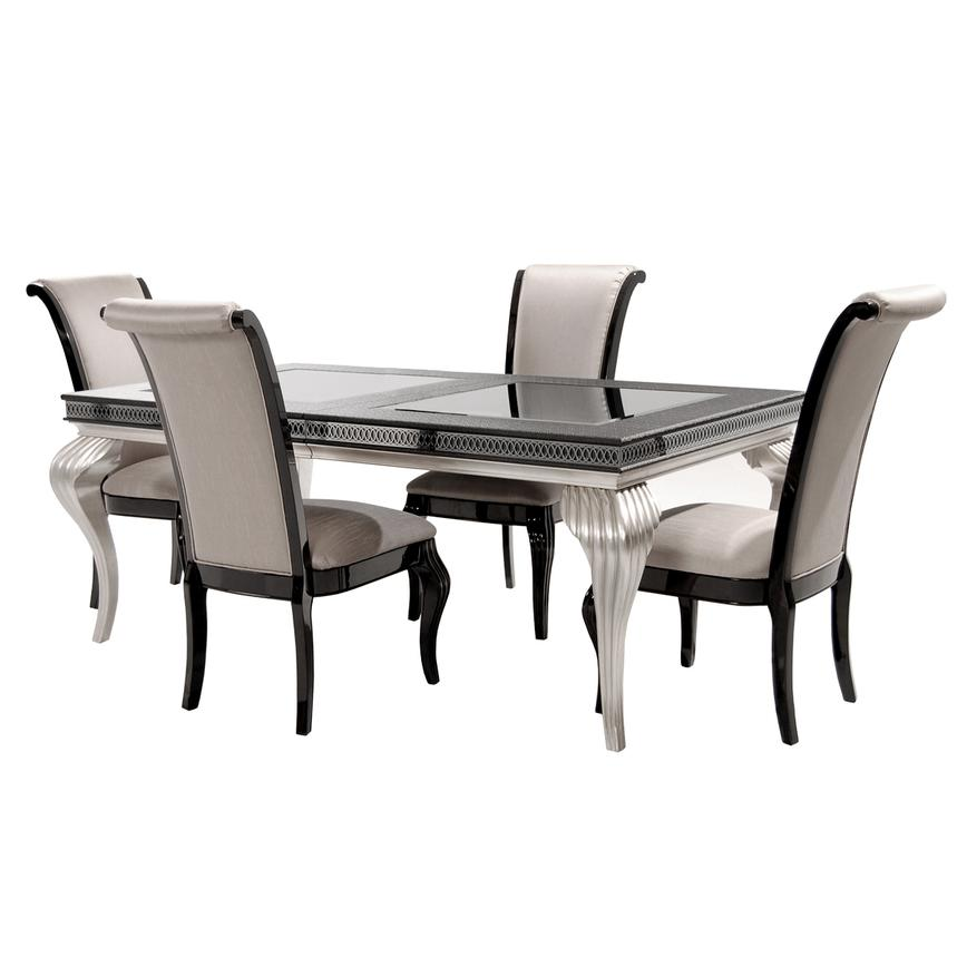 Hollywood Swank Black 5-Piece Formal Dining Set  alternate image, 4 of 16 images.