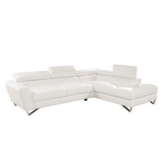 Sparta White Leather Sofa w/Right Chaise