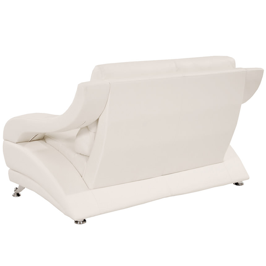 Jedda White Leather Loveseat  alternate image, 3 of 5 images.