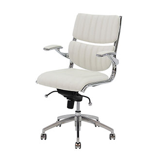 Bell White Low Back Desk Chair