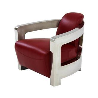 Bon Aviator Red Leather Accent Chair