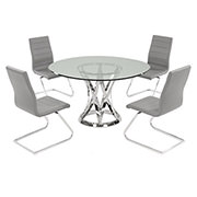 Janet Clear/Gray 5-Piece Casual Dining Set  main image, 1 of 8 images.