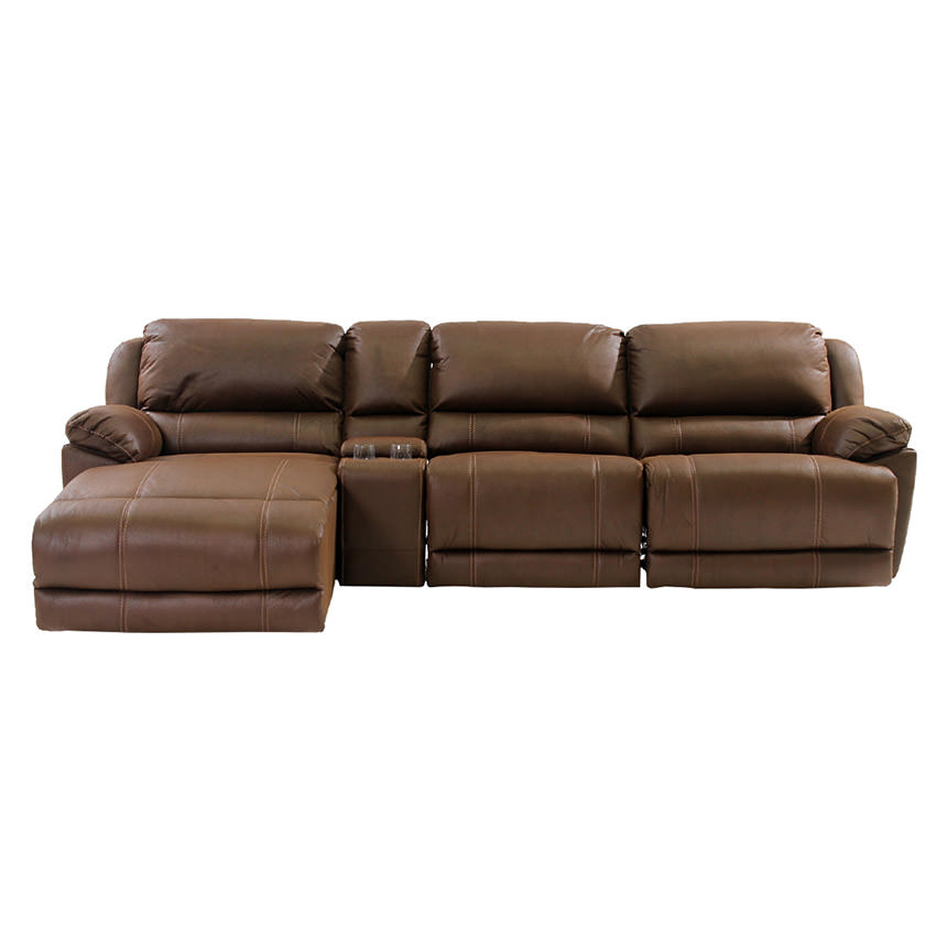 Augusto Chocolate Power Motion Sofa w/Left Chaise  alternate image, 3 of 10 images.
