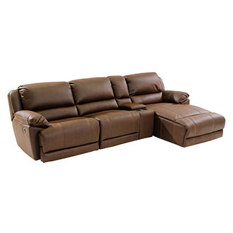 Augusto Chocolate Power Motion Sofa w/Right Chaise