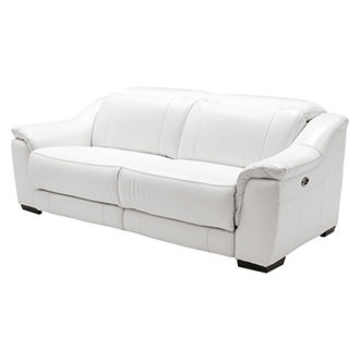 Davis White Power Motion Leather Sofa