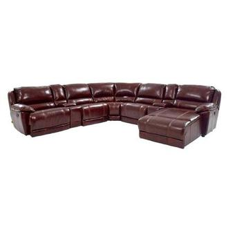 Theodore Burgundy Power Motion Leather Sofa w/Right Chaise