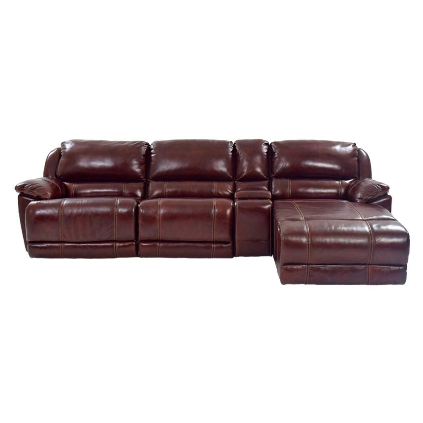 Theodore Burgundy Power Motion Leather Sofa w/Right Chaise  alternate image, 3 of 9 images.