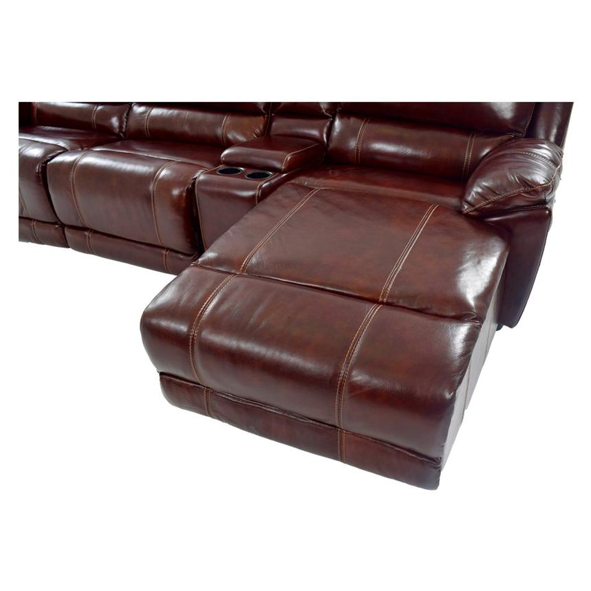 Theodore Burgundy Power Motion Leather Sofa w/Right Chaise  alternate image, 8 of 9 images.