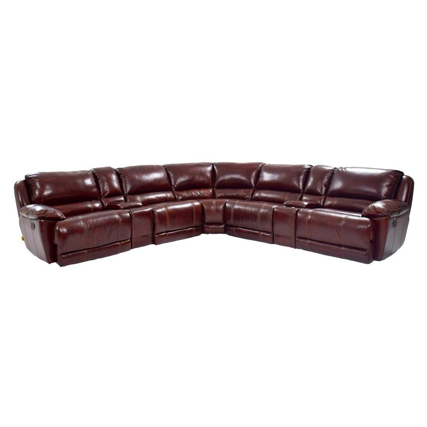 Theodore Burgundy Power Reclining Leather Sofa  main image, 1 of 8 images.
