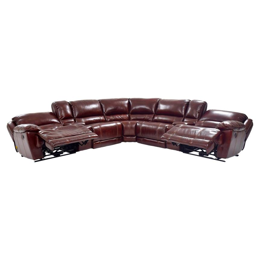 Theodore Burgundy Power Motion Leather Sofa w/Right & Left Recliners  alternate image, 4 of 8 images.