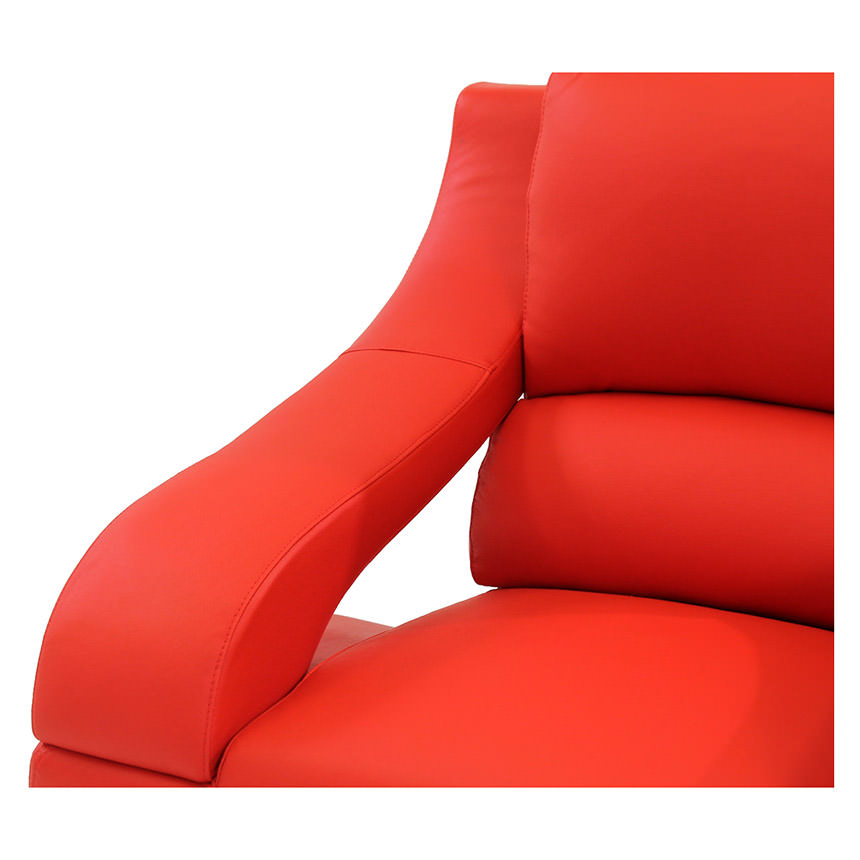 Jedda Red Leather Sofa  alternate image, 4 of 5 images.