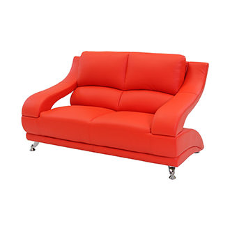 Jedda Red Leather Loveseat