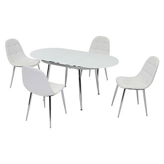 Clotus White 5-Piece Casual Dining Set