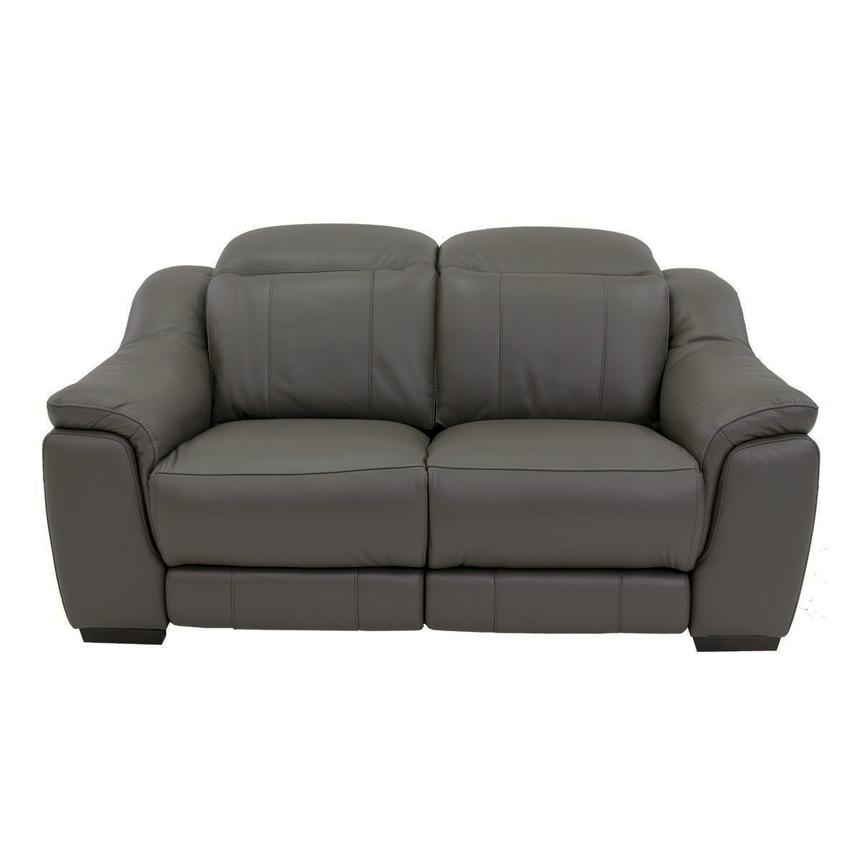 Davis Gray Power Motion Leather Loveseat  alternate image, 3 of 9 images.