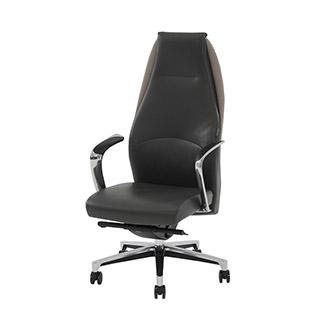 Prector Gray Leather Desk Chair