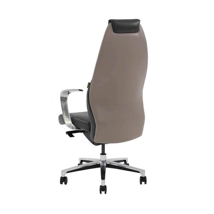 Prector Gray Leather Desk Chair  alternate image, 3 of 9 images.