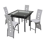 Dominoes White 5-Piece High Dining Set  main image, 1 of 8 images.