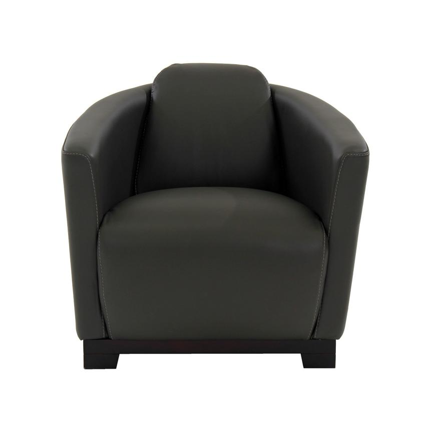 Fellini Gray Leather Accent Chair  alternate image, 4 of 7 images.