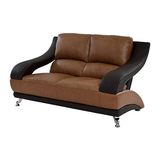 Jedda Camel Leather Loveseat