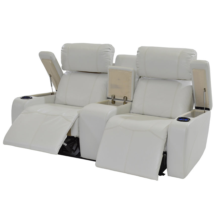 Magnetron White Power Motion Sofa w/Console  alternate image, 3 of 9 images.