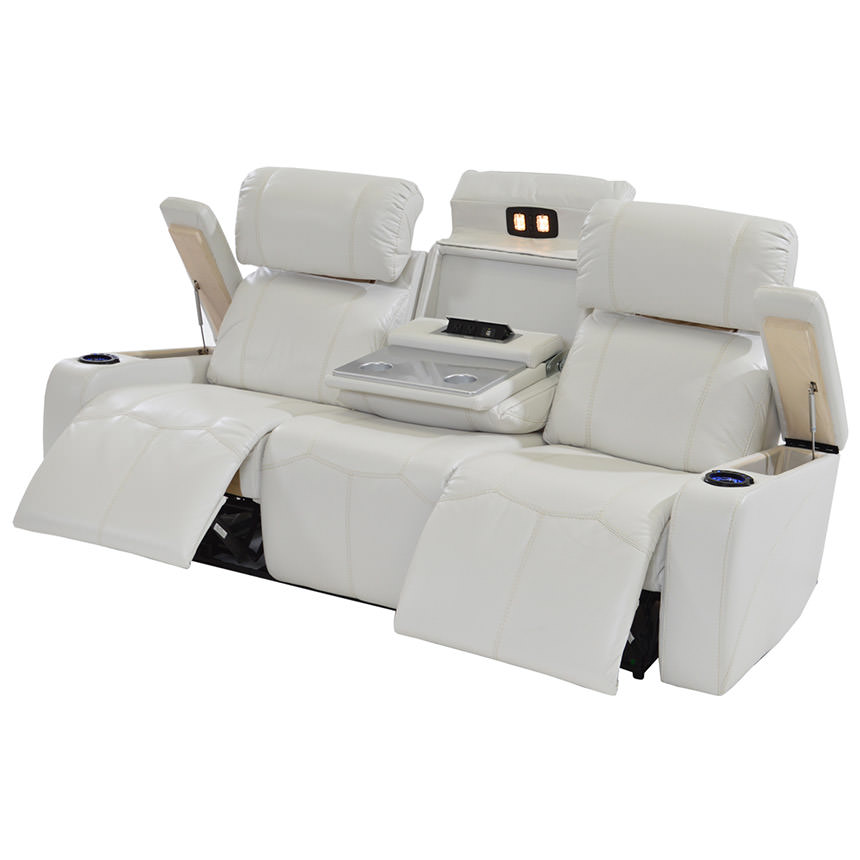Pure Leather Sofa Sets: Magnetron White Power Motion Sofa
