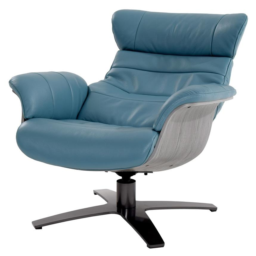 Enzo Blue Leather Swivel Chair  alternate image, 3 of 10 images.