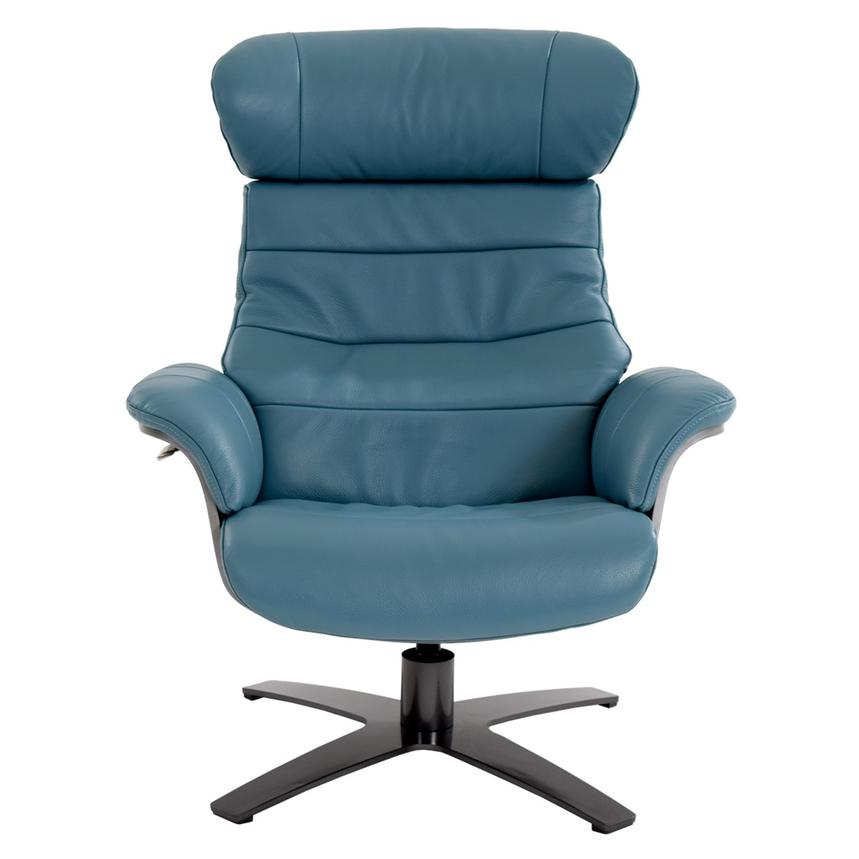 Enzo Blue Leather Swivel Chair  alternate image, 4 of 10 images.