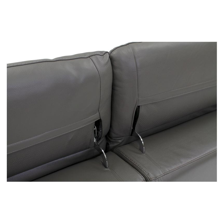 Davis Gray Power Motion Leather Sofa w/Right & Left Recliners  alternate image, 8 of 11 images.