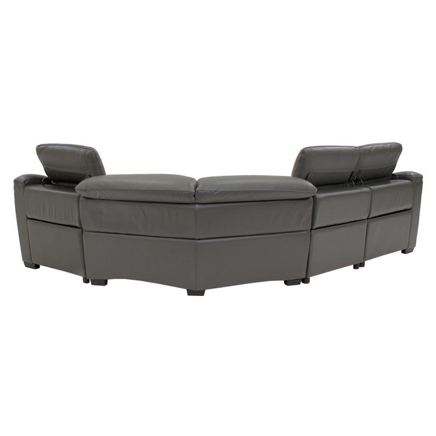 Davis Gray Power Motion Leather Sofa w/Right & Left Recliners  alternate image, 3 of 10 images.