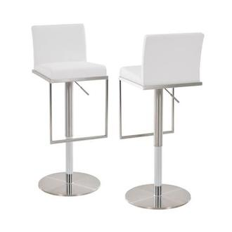 Brisa White Adjustable Stool