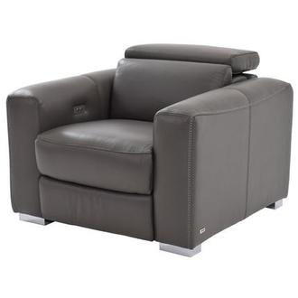 Bay Harbor Gray Power Motion Leather Recliner