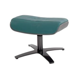 Enzo Teal Leather Ottoman