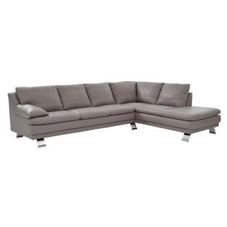 Rio Light Gray Leather Sofa w/Right Chaise