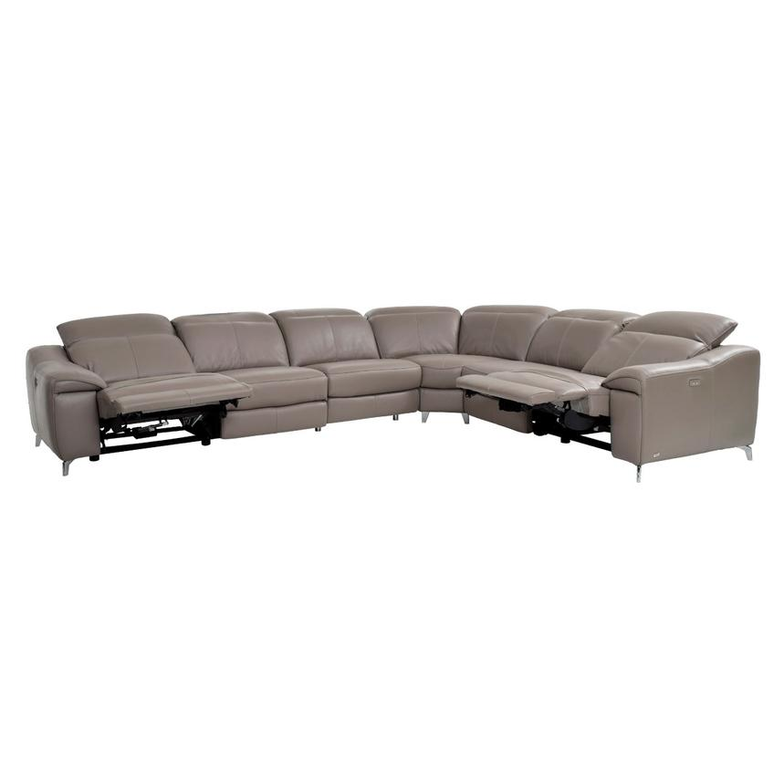 Gaspy Gray Power Motion Leather Sofa w/Right & Left Recliners  alternate image, 3 of 11 images.
