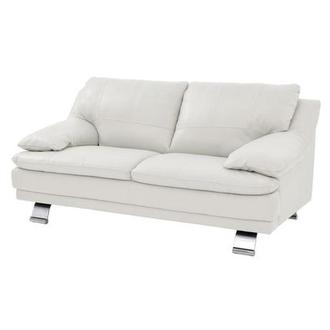 Rio White Leather Loveseat
