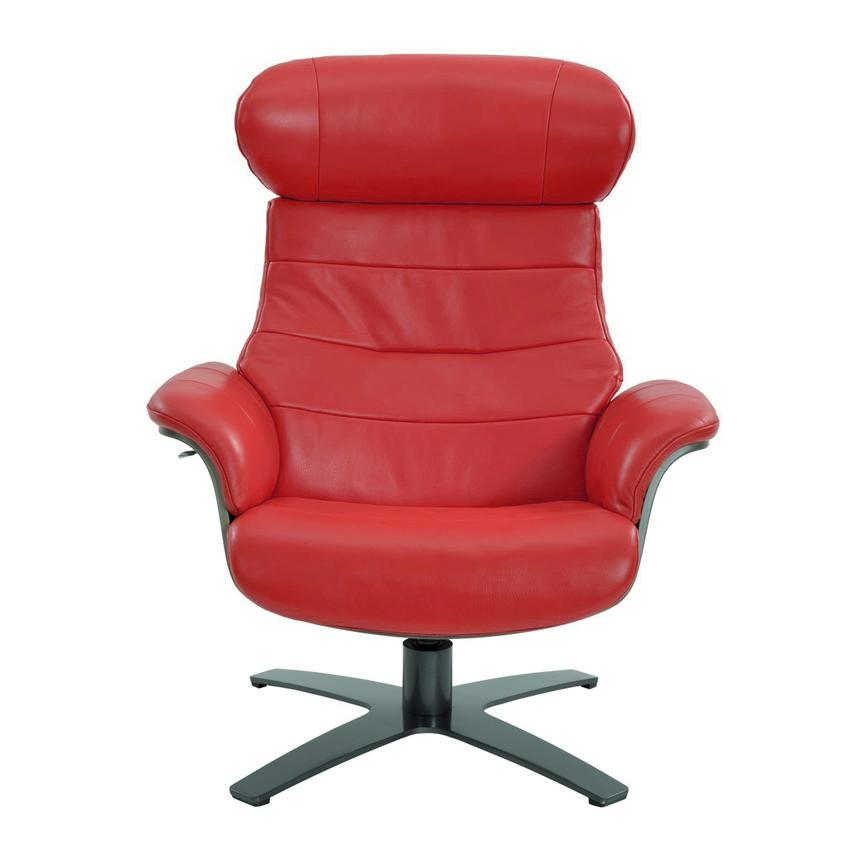 Enzo Red Leather Swivel Chair  alternate image, 3 of 9 images.