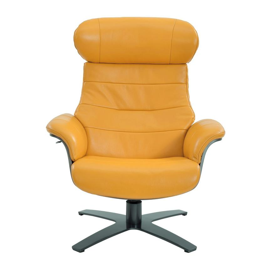 Enzo Yellow Leather Swivel Chair  alternate image, 3 of 9 images.