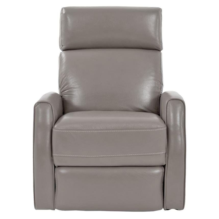 Lucca Gray Power Motion Leather Recliner El Dorado Furniture