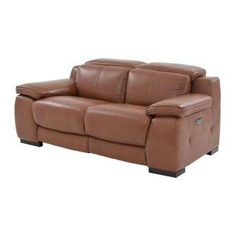Gian Marco Tan Power Motion Leather Loveseat