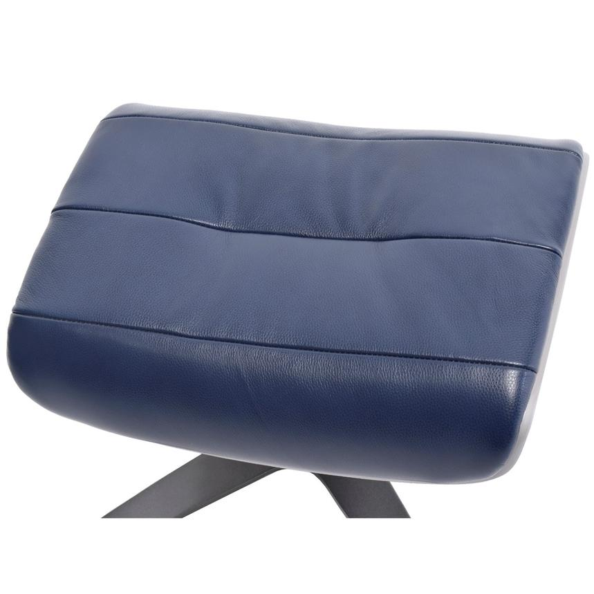 Enzo Dark Blue Leather Ottoman  alternate image, 3 of 5 images.