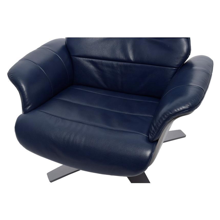Enzo Dark Blue Leather Swivel Chair El Dorado Furniture