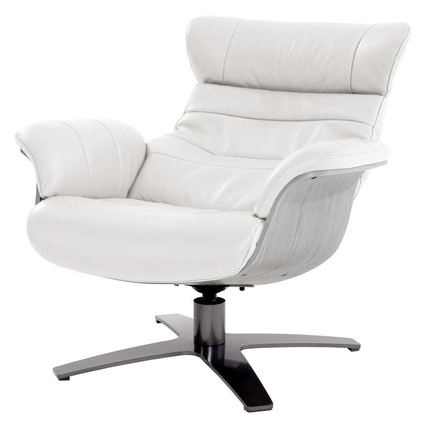 Enzo Pure White Leather Swivel Chair  alternate image, 3 of 10 images.