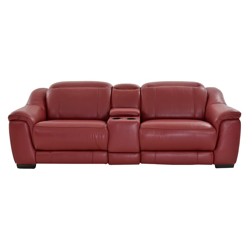 Davis Red Power Motion Leather Sofa w/Console  alternate image, 3 of 13 images.