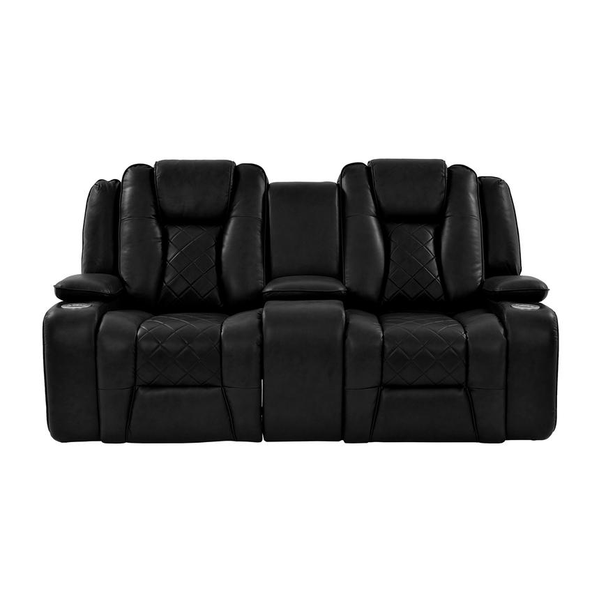 Chanel Black Power Motion Sofa w/Console  alternate image, 3 of 13 images.