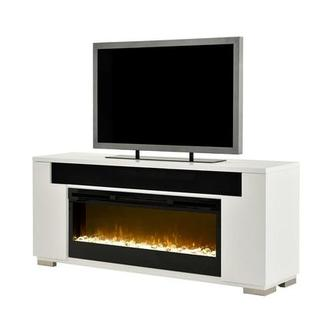 Mile White Faux Fireplace w/Speakers
