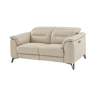 Anabel Cream Power Motion Leather Loveseat