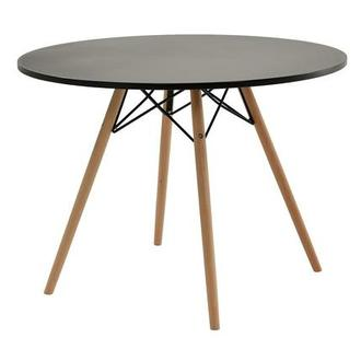 Gerald Black Round Dining Table w/10mm Glass Top | El Dorado Furniture